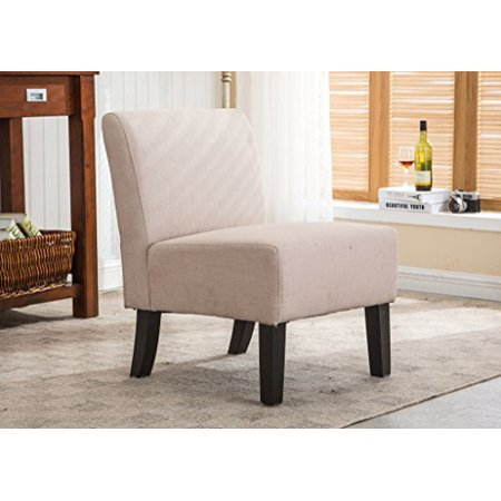 AC Pacific Samantha Collection Modern Upholstered Armless Slipper Chair with Full Back, Khaki