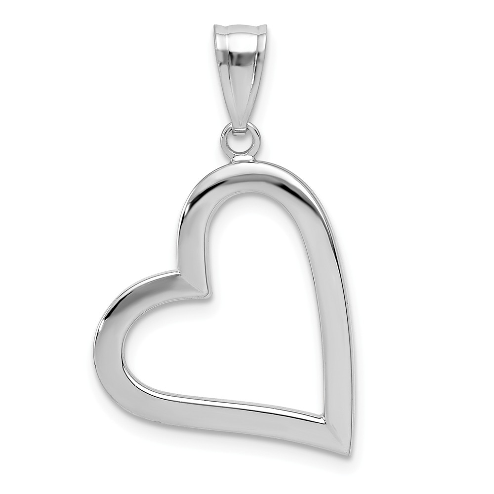 14k White Gold Polished Hollow Heart Pendant