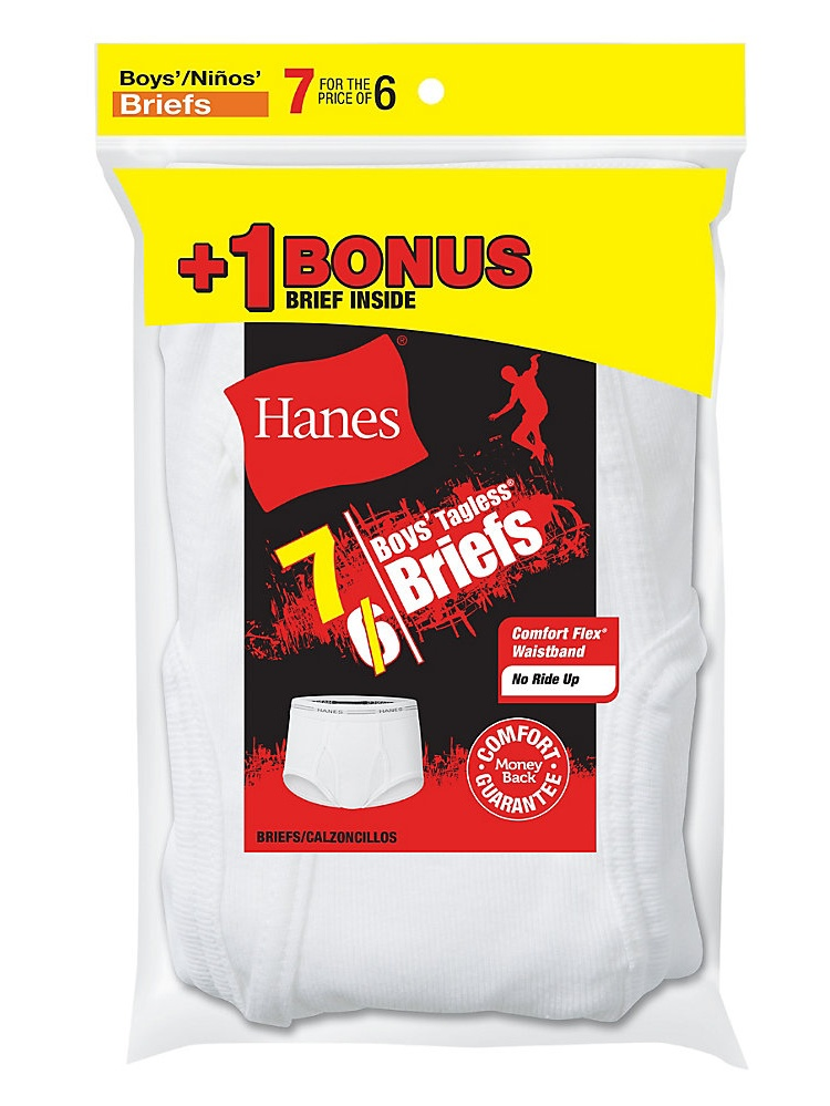 Boys' TAGLESS® White Briefs 7-Pack (Includes 1 Free Bonus Boxer Brief) B252P7