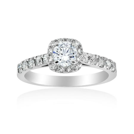 1 ct Cushion Halo Round Solitaire Diamond Engagement Ring 14K White Gold ()