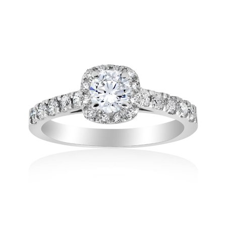 1 ct Cushion Halo Round Solitaire Diamond Engagement Ring 14K White -