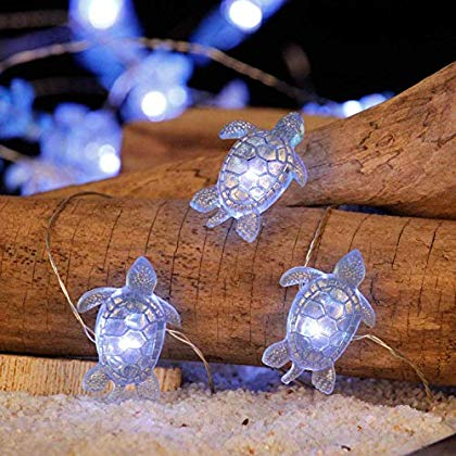 Sea Turtle Festive String Lights, Marine Turtle Ocean Theme Lights Multi Flicker Mode on 10 Feet 30 LEDs Battery-powered with Dimmable Remote for House, Bedroom, Wedding Parties