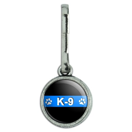 Charm Strap Purse Zipper Pull - Thin Blue Line K-9 Unit Paw Prints Police Antiqued Charm Clothes Purse Backpack Zipper Pull