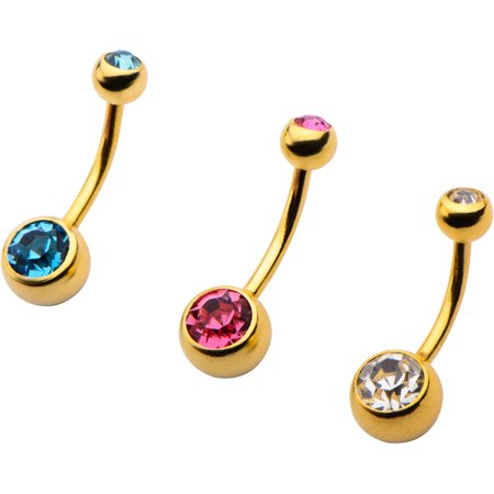 Body Art 10kt Gold-Tone 14G Gem Navel Belly Rings