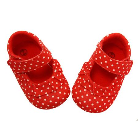 Baby Girls Red White Polka Dot Strap Crib Shoes 0 12M