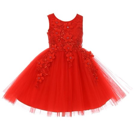 Little Girls Red 3D Floral Appliques Soft Tulle Flower Girl Dress - Couture Costume D'halloween