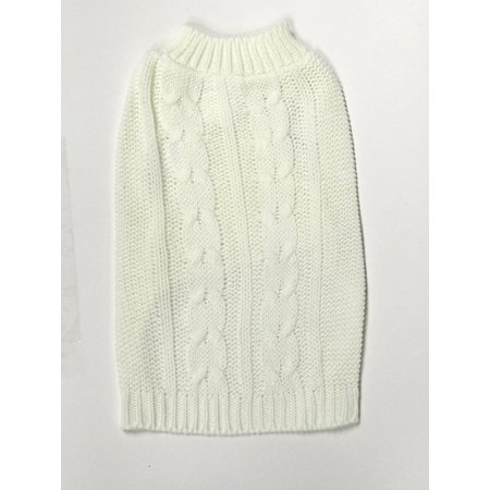 Large Cream Cable Knit Dog Sweater by Midlee