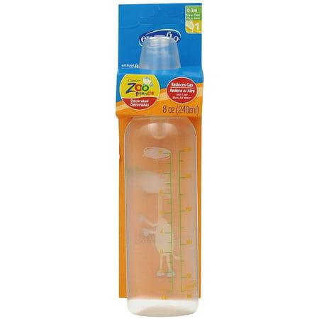 Evenflo Classic Zoo Friends Slow Flow BPA Free Plastic Bottles 8 oz, Assorted 1 ea Critter Brite 8 Oz Bottle