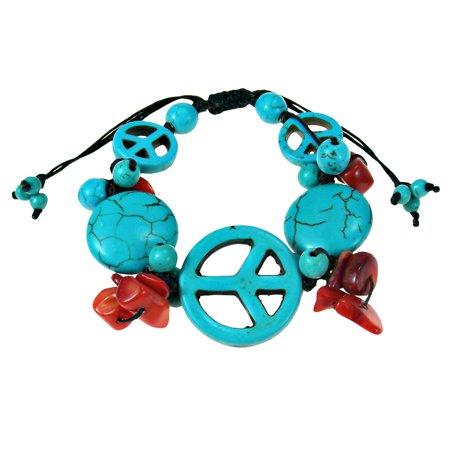 Vintage Peace Symbol Blue Turquoise & Red Coral Pull String Bracelet