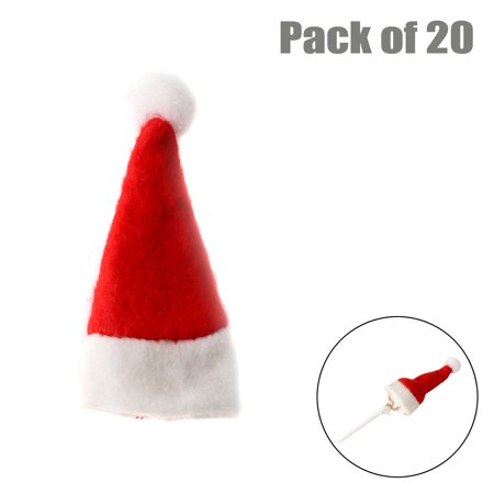 Santa Hats In Bulk (Mini Santa Claus Hats Lollipop Christmas Candy Hat for Holiday Xmas Party Top Topper,)