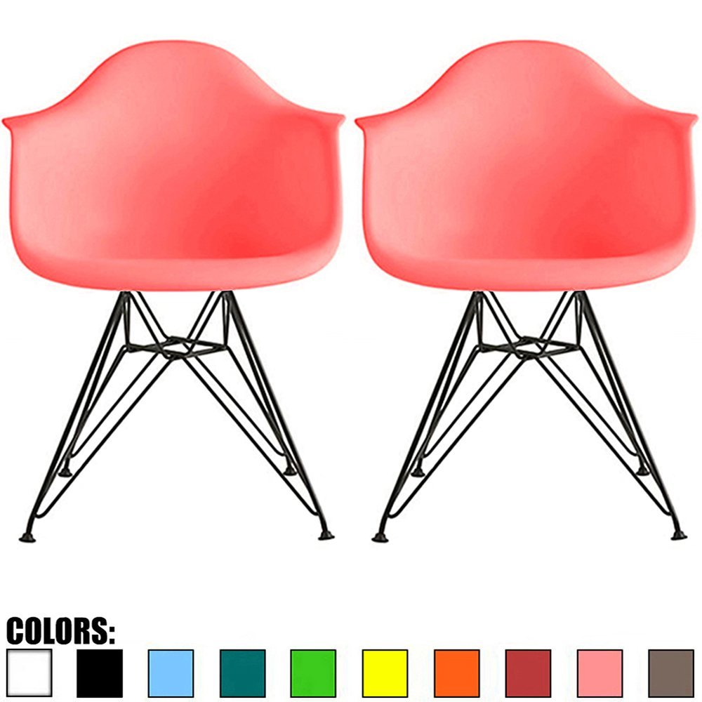 2xhome - Set of Two (2) - Pink - Modern Eames Style Armch...