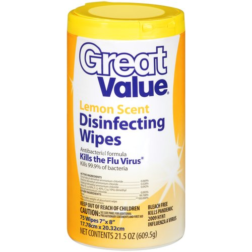 Great Value Lemon Scent Disinfecting Wipes, 75ct