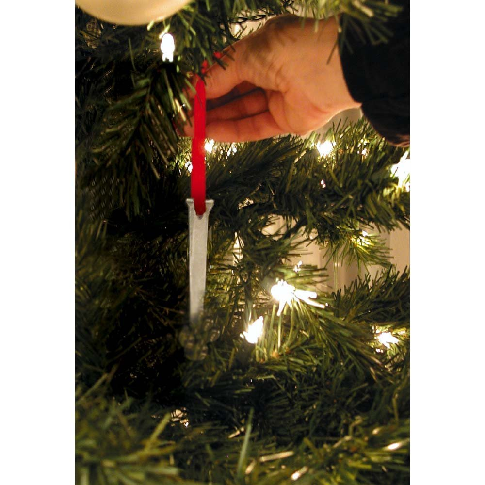 The Christmas Nail With Red Ribbon Hanger 1 x 4.5 Metal Hanging Ornament, Made of quality metal material By Dicksons