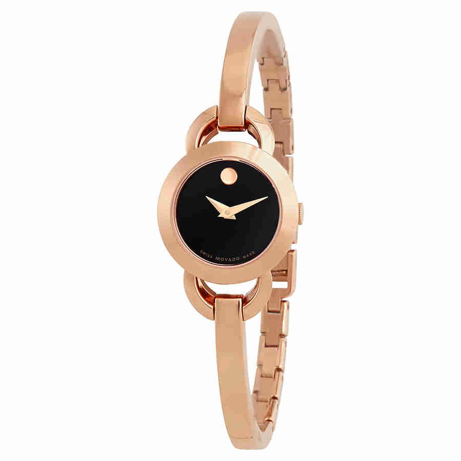 Movado Rondiro Black Dial Rose Golf-tone Ladies Watch 060...