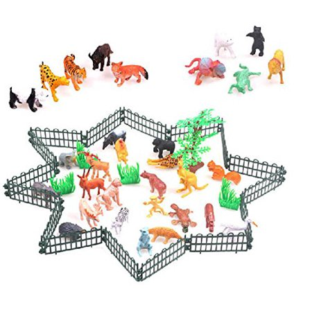 Aostek 32 Sets Of Assorted Wild Animal Toy Figure Playset Zoo With Fence Jungle Friends For Child Learning