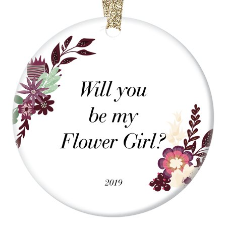 Flower Girl Ornament 2019 Christmas Gift Idea Pretty Vintage Boho Floral Personalized Decoration Wedding Sister Daughter Niece Marriage Bride Groom Engagement Custom Holiday Ceramic 3