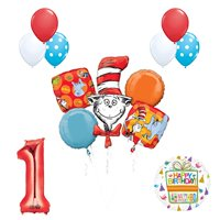 13 pc Dr Seuss Cat in the Hat 1st Birthday Party Balloon supplies