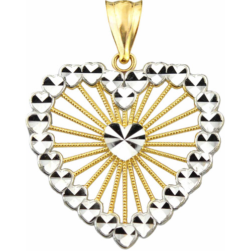 Handcrafted 10kt Gold Multi-Heart Diamond-Cut Charm Pendant
