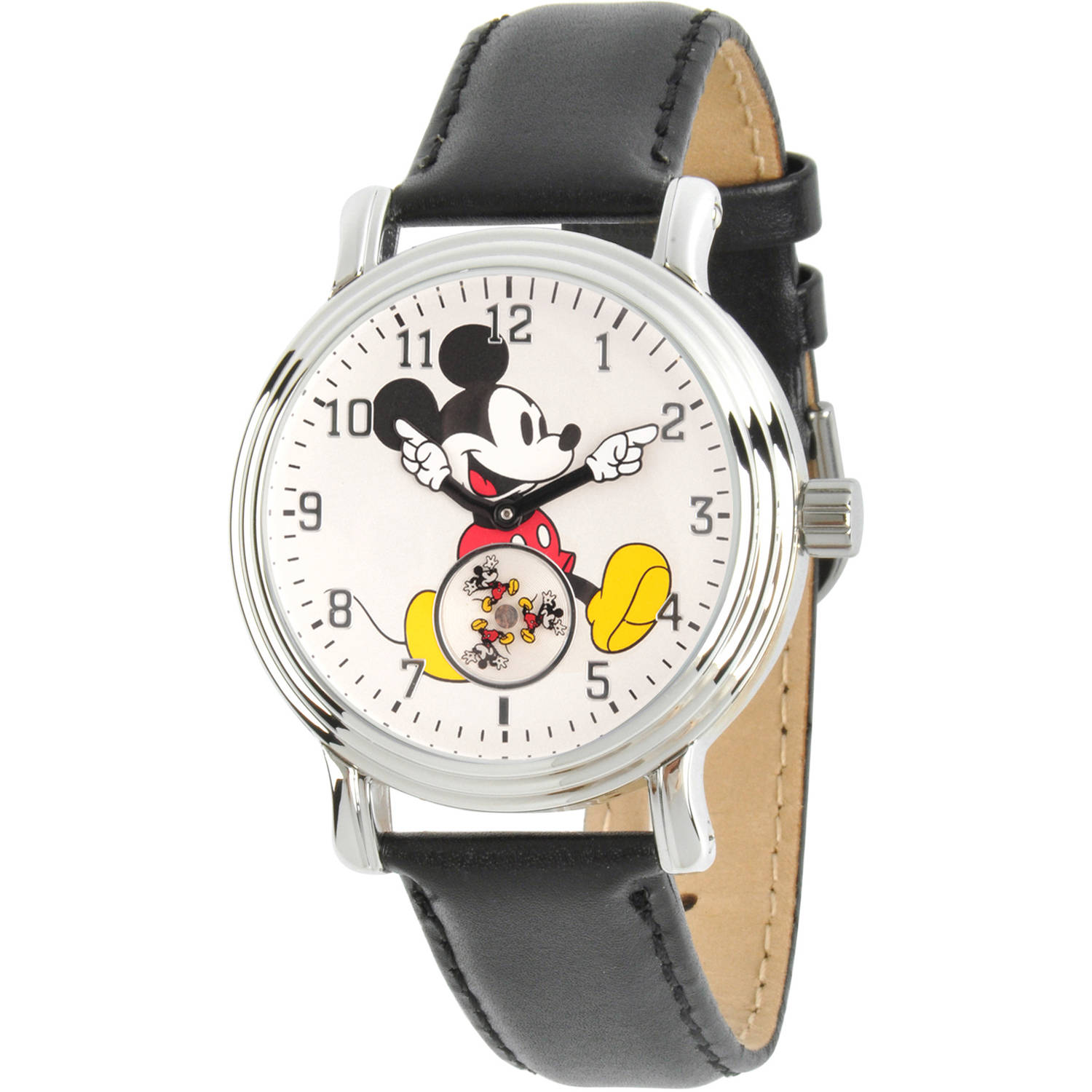 Disney, Articulating Classic Mickey Mouse  Women's Silver Vintage Alloy Watch, Black Leather Strap