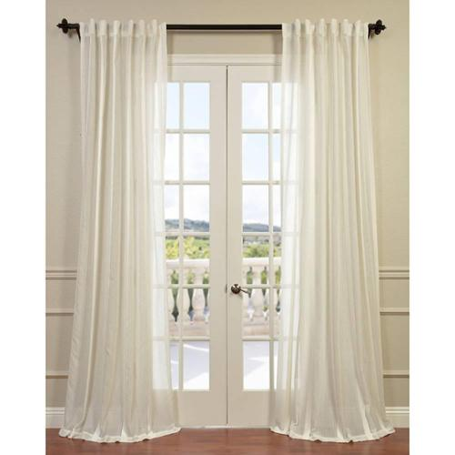 "EFF Antigua Striped Linen Sheer Curtain Panel Off White 84""L"