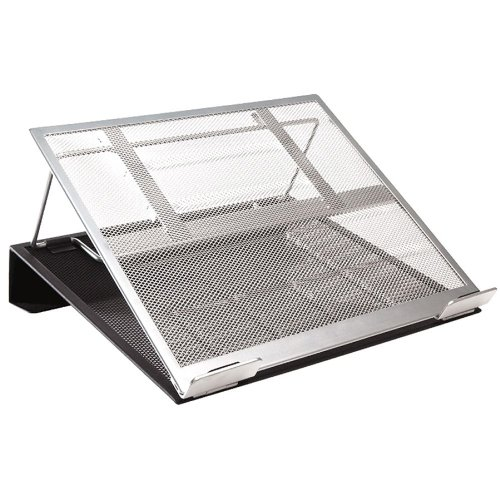 Rolodex Mesh Laptop Stand With Cord Organizer - Metal - Black, Silver (rol82410)
