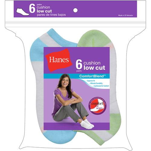Hanes Ladies Socks Low Cut 6 Pack