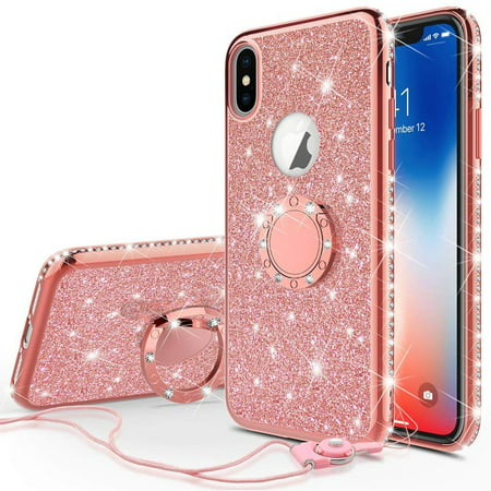 SOGA Diamond Bling Glitter Cute Phone Case with Kickstand Compatible for iPhone XR Case, Rhinestone TPU Bumper with Magnetic Ring Stand Girls Women Cover for Apple iPhone XR [Rose Gold]