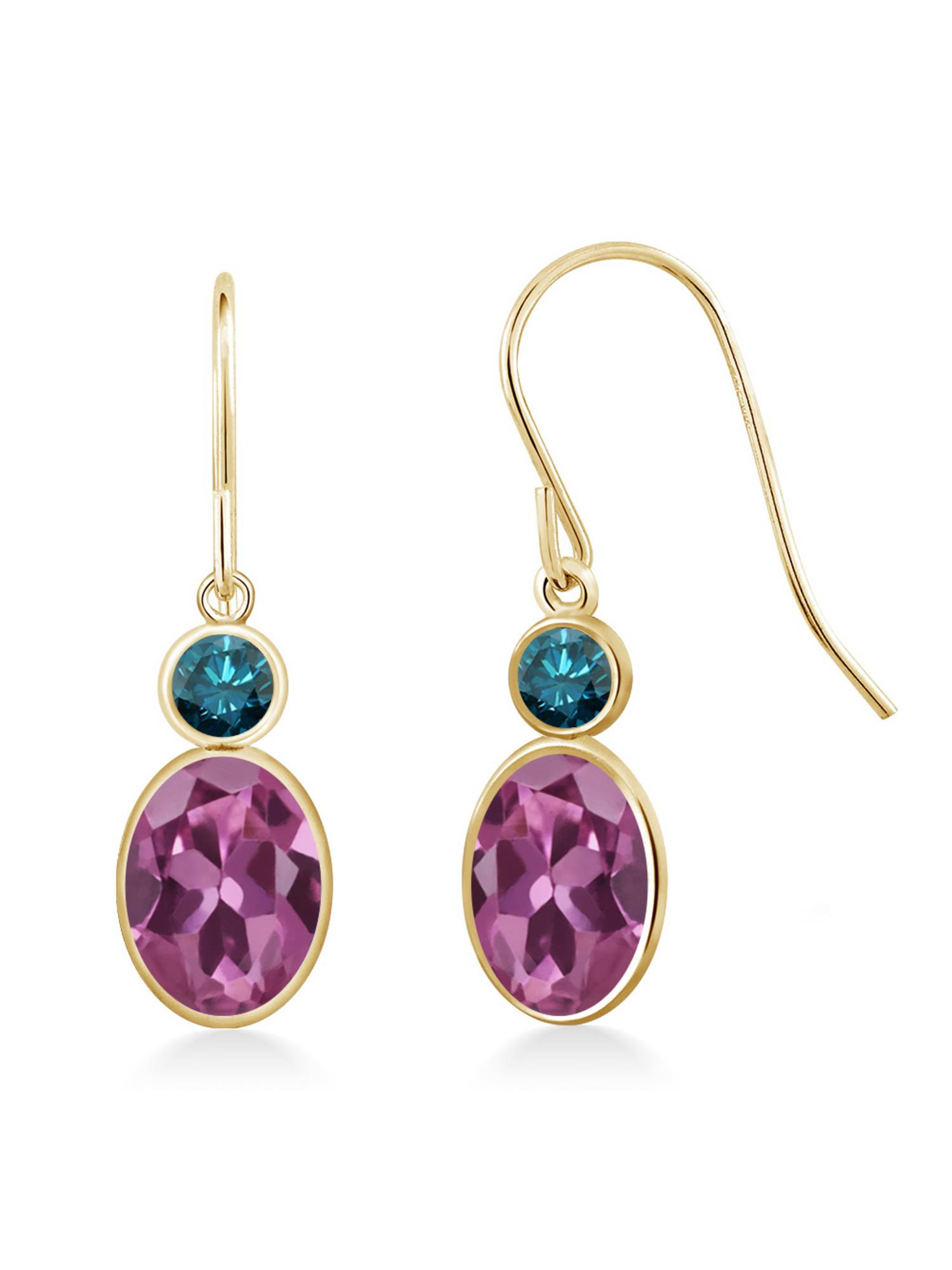 1.60 Ct Oval Pink Tourmaline AA Blue Diamond 14K Yellow Gold Earrings by