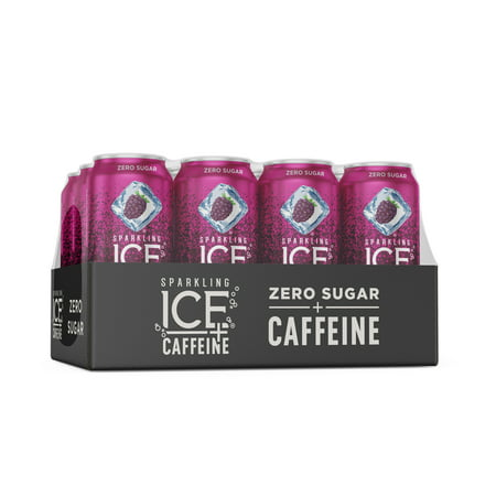 Sparkling Ice® +Caffeine Naturally Flavored Sparkling Water, Black Raspberry 16 Fl Oz, (Pack of 12)