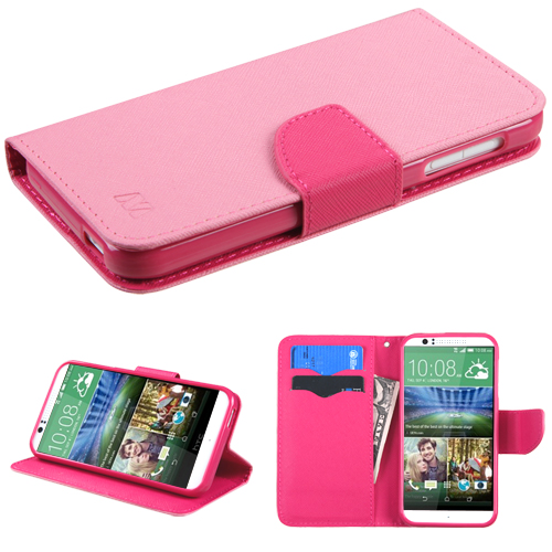 For Desire 510 Pink Pattern/Hot Pink Liner MyJacket Wallet (with card slot)