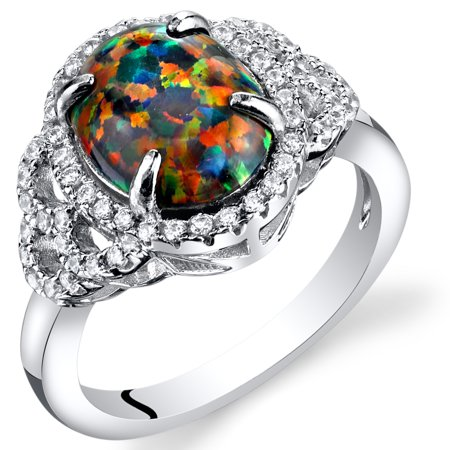 1.25 Carats Created Black Opal Cocktail Ring in Sterling Silver