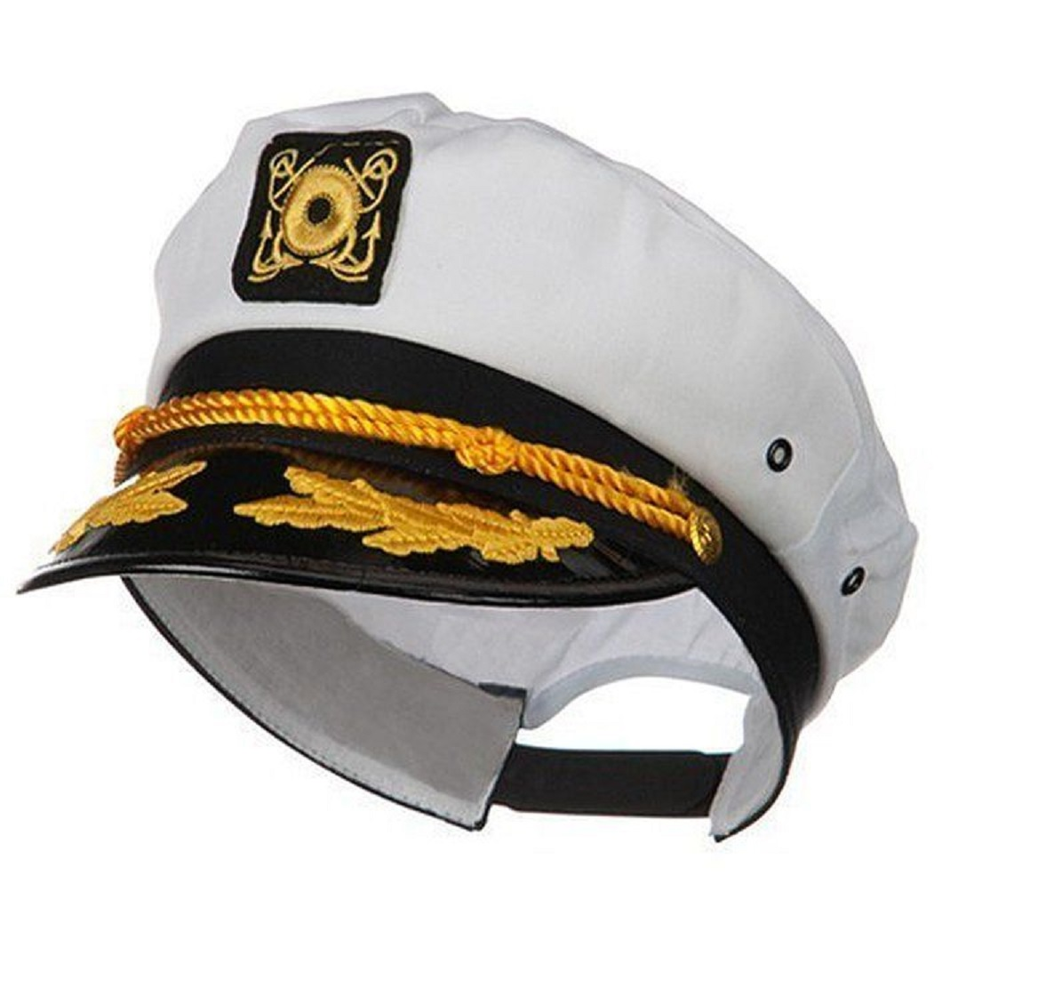 Yacht Boat Captain Hat Sailor Ship Navy Marines Admiral Cap Hat White Gold 23400