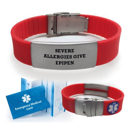 Severe Allergies Give Epipen Sport Medical Alert Id Bracelet Choose Color