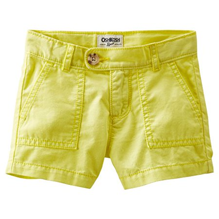 OshKosh B'gosh Little Girls' 4-Pocket Twill Shorts - Bright Yellow - 6 (Oshkosh Girls Shorts)