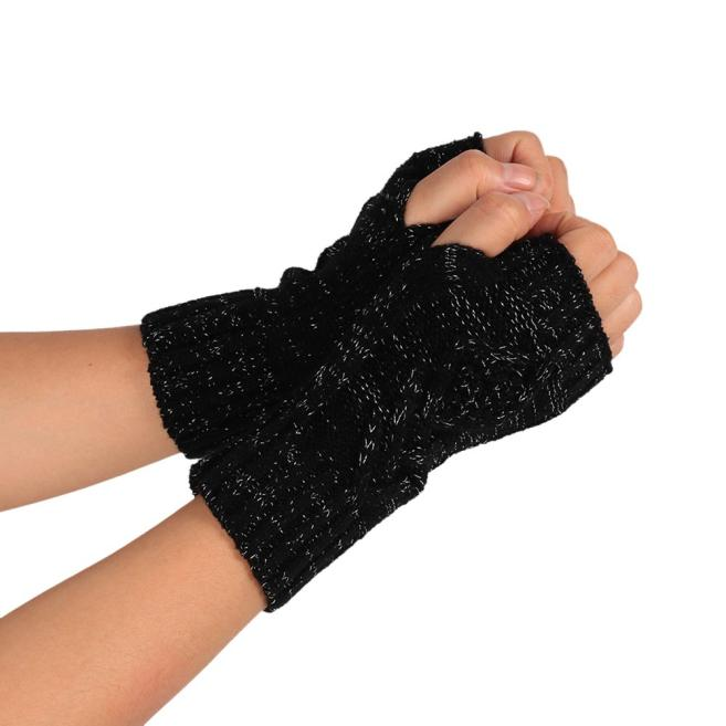 Fashion Knitted Arm Fingerless Winter Gloves Soft Warm Mitten BK