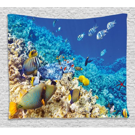 Ocean Decor Tapestry  Barrier Reefs Covered Sea With Lagoon Zebrafish Anemonefish Picture  Wall Hanging For Bedroom Living Room Dorm Decor  80W X 60L Inches  Turquoise Light Yellow  By Ambesonne