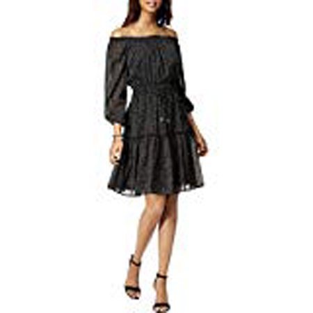 TOMMY HILFIGER Womens Black Ruffled Printed 3/4 Sleeve Off Shoulder Above The Knee Empire Waist Dress  Size: 14 Empire Waist Bow