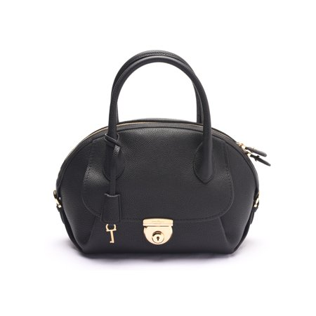 Salvatore Ferragamo Women s Fiamma Leather Satchel Handbag Black ... 47226ba34b1dc