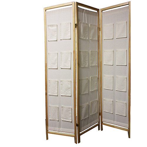 ORE International 3-Panel Wooden Room Divider with Pocket Holders, Natural