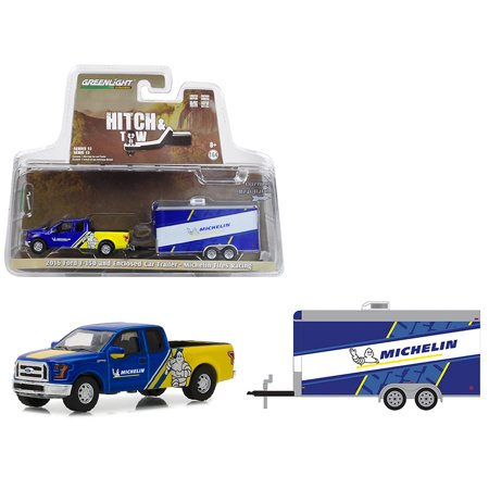 2016 Ford F-150 Michelin Tires and Enclosed Car Trailer Michelin Tires Racing Hitch & Tow Series 13 1/64 Diecast Model Car by - Michelin Baby