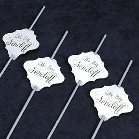 Megaphone Bag Tag - 36 pc Wedding Sparklers Tags - The Big Sendoff - Cream Shimmer Paper