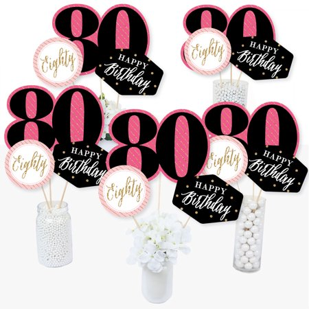Chic 80th Birthday - Pink, Black and Gold - Birthday Party Centerpiece Sticks - Table Toppers - Set of 15](80th Birthday Centerpieces Decorations)