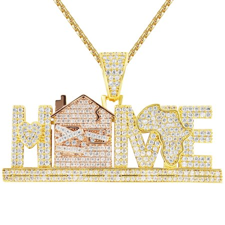 Africa Jewelry (Men's Home Trap African Map Custom Iced Out Hip Hop Pendant Chain)