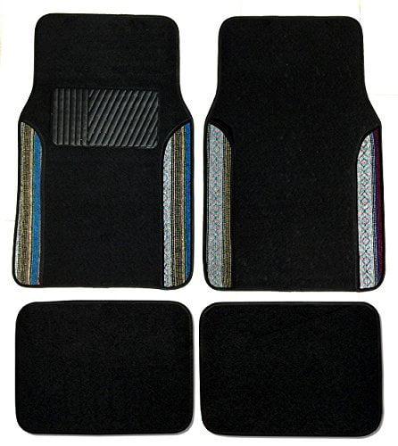 Premium Carpet 4PC Front & Rear Driver Passenger Floor Mats Cars Trucks Sedans SUVs (Baja Inca Two-Tone)
