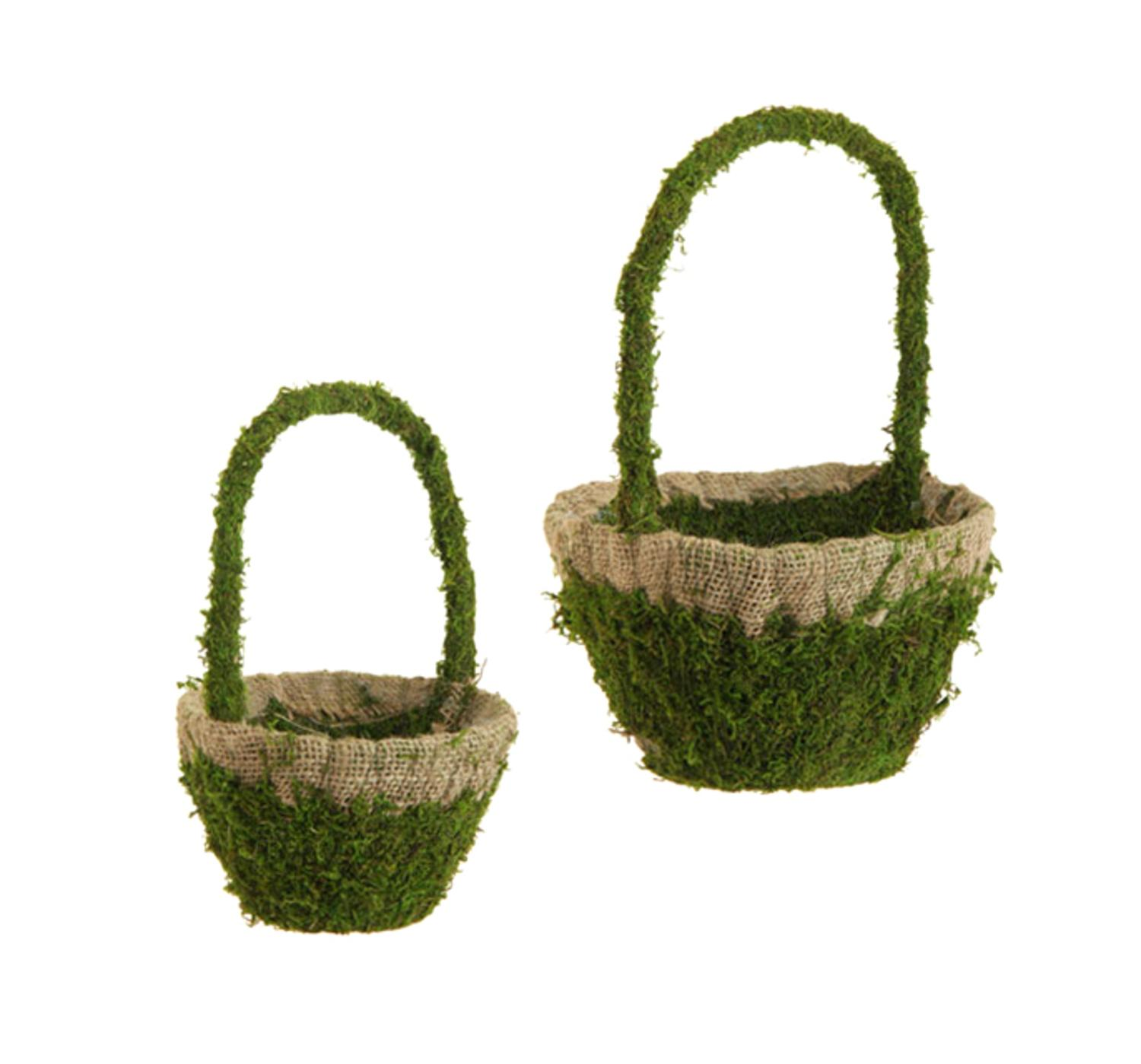 Set of 2 Rustic Easter Artificial Green Moss and Burlap Spring Hanging Baskets