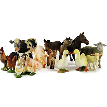 Boley 15-Piece Farm Animal Playset - with Different Varieties of Realistic Looking Farm Animals and Baby Farm Animals - Figurines Ranging from Cows, Pigs, Sheep, Ducks, Geese, Horses, and - Duck Dynasty Playset