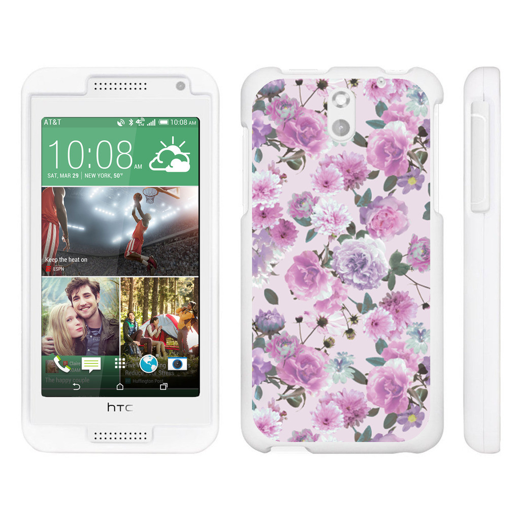 HTC Desire 610, [SNAP SHELL][White] Hard White Plastic Case with Non Slip Matte Coating with Custom Designs - Pink Purple Flower