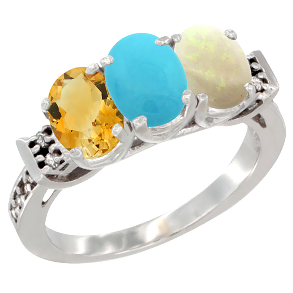 10K White Gold Natural Citrine, Turquoise & Opal Ring 3-Stone Oval 7x5 mm Diamond Accent, sizes 5 10 by WorldJewels