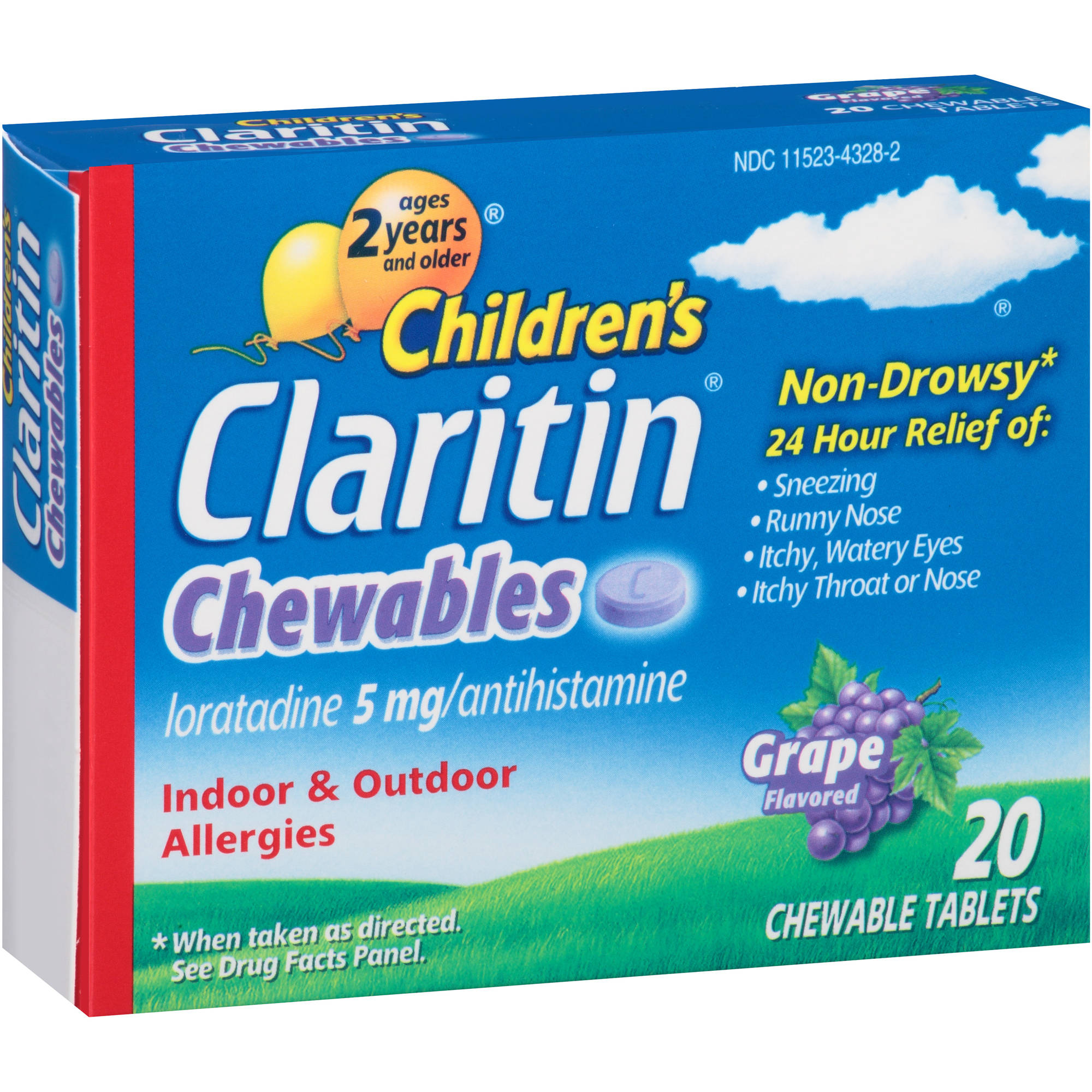 Children's Claritin Chewables Grape Flavored Allergy Relief, 20 count'