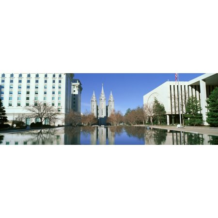 Historic Temple and Square in Salt Lake City UT home of Mormon Tabernacle Choir Canvas Art - Panoramic Images (36 x